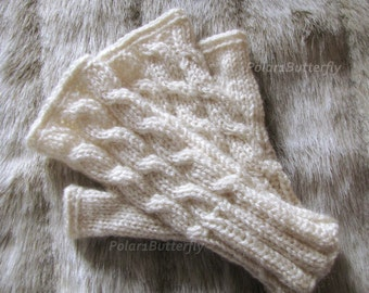 Texting gloves, Fall/ Winter fashion, wrist warmers for women/ girls/ teens, fingerless mittens, hand knit cables in cream / off white ivory