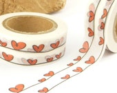 Red Valentines Heart  Washi Tape - A1400