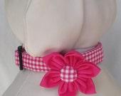 Dog Collar Flower Set - Hot Pink Gingham  - Size XS, S, M, L, XL