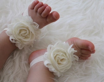 ivory baby barefoot sandals - 20 colors to choose - baby sandals - babybarefoot - flower sandals - newborn shoes - barefoot  baby - baby