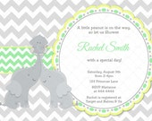 Yellow Green and Grey Chevron Elephant Baby Shower Invitation and FREE Thank You Card Printable DIY