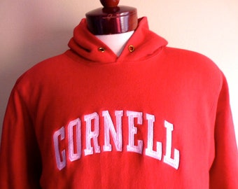 vintage 80's Cornell University red reverse weave fleece white embroidered logo college graphic hoodie sweatshirt pullover jumper large