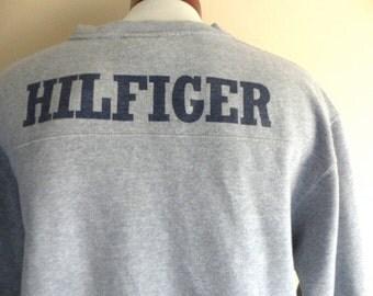 vintage 90's Tommy Hilfiger Athletics heather grey fleece designer logo graphic sweatshirt v-neck pullover jumper back and front print large