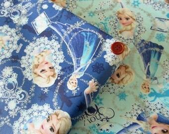 Disney Frozen Anna and Elsa Cotton Japanese Fabric / Half Yard