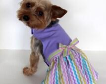 Purple Dog Dress, Size Small Lilac and Pastel Chevron Designer Dogs Dress, fashion dog clothes pet clothing