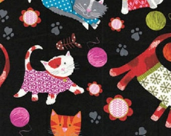Fat Quarter Knitty Kitty Cozy Whimsical Cats Printed Cotton Quilting Fabric