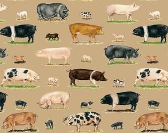 Fat Quarter Farm Animal Pigs 100% Cotton Quilting Fabric Makower 1488