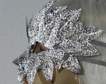 Japanese Silver Sculpture Garden Party II Masquerade Mask
