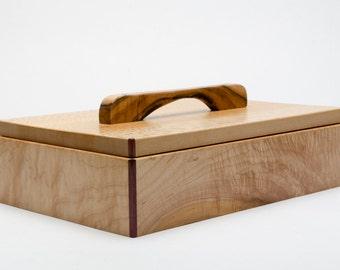 Handmade Wood Box featuring beautiful hardwoods. Lacewood, Figured Maple, and Purpleheart.