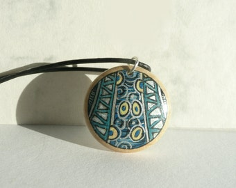 Modern Art Necklace, Blue Necklace, Wooden Pendant,  Hand Painted Jewelry, Leather Cord Necklace, Wood, Artdora Jewelry