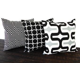 Throw pillow covers Set of three gray black white geometric cushion cover pillow shams