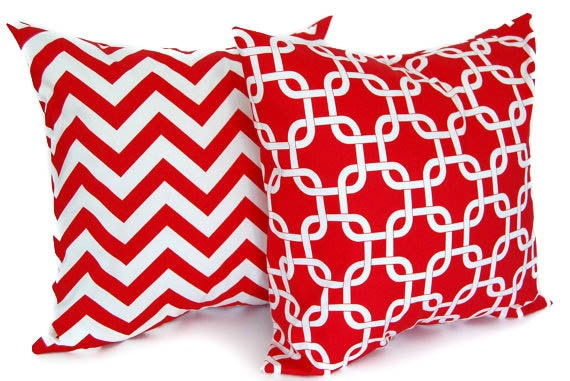 Decorative pillow covers set of two red and white chevron pillow red pillow covers red cushion covers