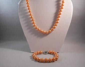 10mm Peach Color Sea Shell Pearl Necklace and Bracelet Set