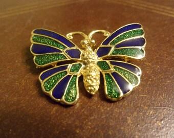 Cloisonné Enamel Butterfly Pin.