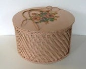 Antique 40's Pink Wicker Hat Box, Sewing Kit, Decals, vintagae storage, Home Decor, gift idea