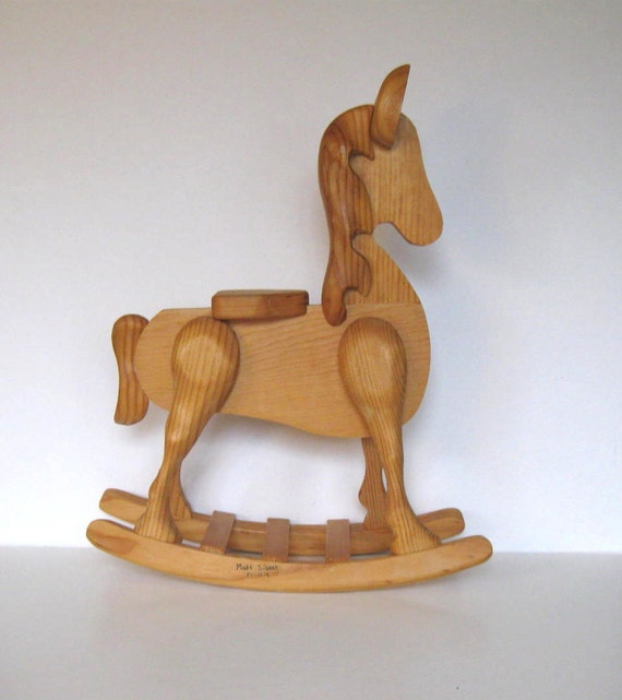 Large Vintage Handcrafted Wooden Rocking Horse Primitive Folk