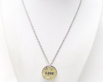 "Smooth Round Silver Plated ""Love"" Pendant Necklace"