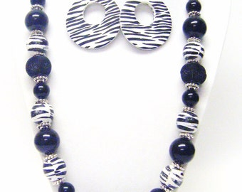 Black and White Zebra Stripe Wood Bead Necklace & Earrings Set