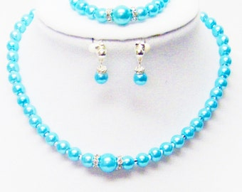 Turquoise Glass Pearl w/Crystal Necklace/Bracelet/Earrings Set for Young Girl