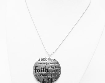 Round Silver Plated Pendant w/trust/faith/courage/belief Message Necklace