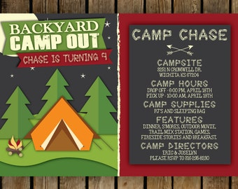 Printable Camp Out Birthday Invitation 5x7 , Birthday Party, Camping Invite, Backyard camp out