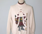 Vintage Ugly CHRISTMAS Sweater / Kitsch TACKY Unisex White Sweatshirt with Large Santa  / Christmas Party Sweater