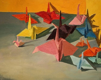 Colorful paper cranes still life oil painting 18x24