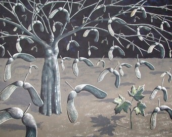 Sapling Surreal Landscape, Maple Tree Art, Wall Decor, Maple Sapling, Maple Art