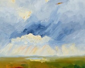 """SALE!! Original expressionist Oregon landscape acrylic painting """"Through The Strom"""", 20"""" x 20"""" on canvas.  Wall art."""