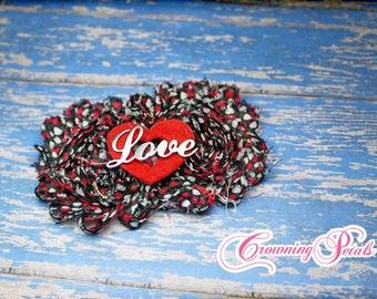Valentine's Headband, Black, Red Hair Accessories, Flower Headband, Shabby Flower Bow, Heart Headband, Fabric Flowers, Valentine's Day Bow