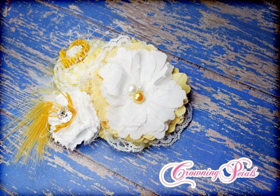 Yellow, White Headband, Spring Hair Accessory, Fabric Flower Brooch, Mustard Yellow Flower Hair Clip, Hair Piece, Easter Headband, Hair Bow