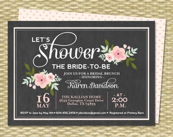 Bridal Brunch Invitations Chalkboard Floral Bridal Shower Invitation Bridal Tea Chalkboard Mint Pink, ANY EVENT