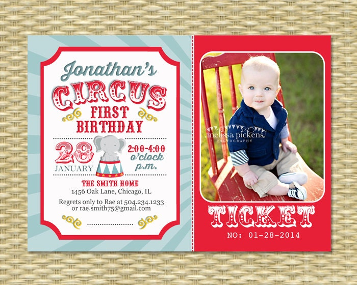Circus First Birthday Invitation Circus Birthday Invite - Birthday invitation cards circus