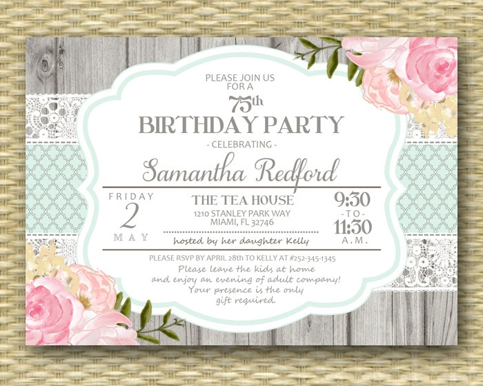 75th Birthday Invitation Pink Floral Roses Peonies Rustic Lace
