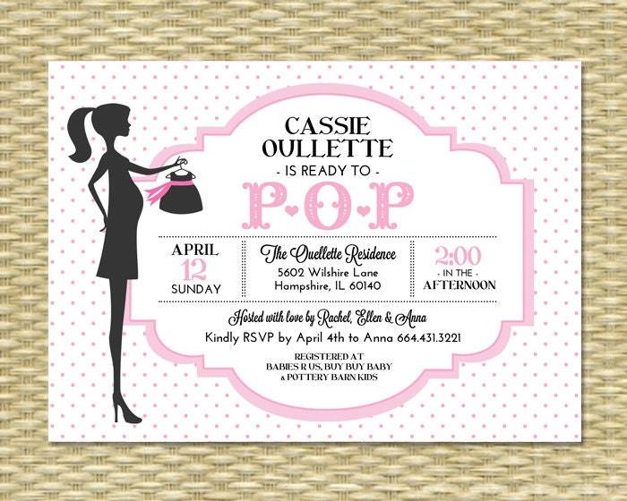 ready to pop baby shower invitation baby girl pink polka dot