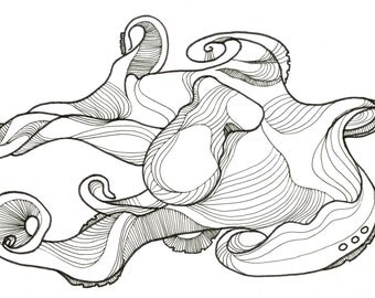 """Octopus Drawing - Deepling Octopus  - Fine Art Giclee Print of 6""""x4"""" Black and White Drawing"""