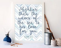 Mightier than the waves in the sea is is love for you, psalms 93 art, christian art, vintage nautical decor, beach decor, bible art, A-1073