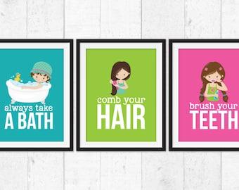 Girls bathroom rules, brush your teeth, take a bath, brush your hair, hygiene art prints, bathroom decor, kids bathroom posters