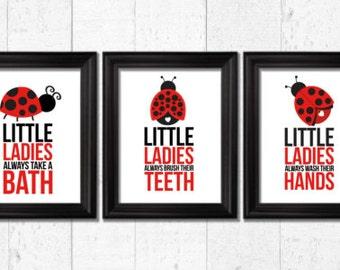 Little ladybugs bathroom rules, Ladybug Decor, bathroom art prints, Kids Wall Art, Nursery decor, Bathroom rules art, ladybugs nursery art