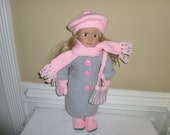 American Girl Grey Coat and Pink Hat, Scarf, Bag, Mittens, Boots - Hand Knit 6 Piece Outfit