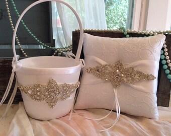 SALE-Flower Girl Basket-Ivory-White-Ring Bearer Pillow-Pillow-Basket-Ring-Wedding Basket-Pillow-Ivory Wedding Basket-Ivory-Pillow and Basket