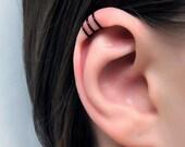 Black Three Rings Helix Ear Cuff/ triple helix piercing imitation/ fake faux pierce/ Ohrklemme/ ohrclip/ helix manschette/ false ear pierce
