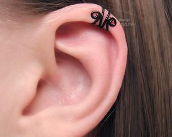 No Piercing Black Scroll Helix Cuff/piercing imitation/fake faux piercing/cartilage ear cuff/helix swirls manchette/ohrclip oberen knorpel