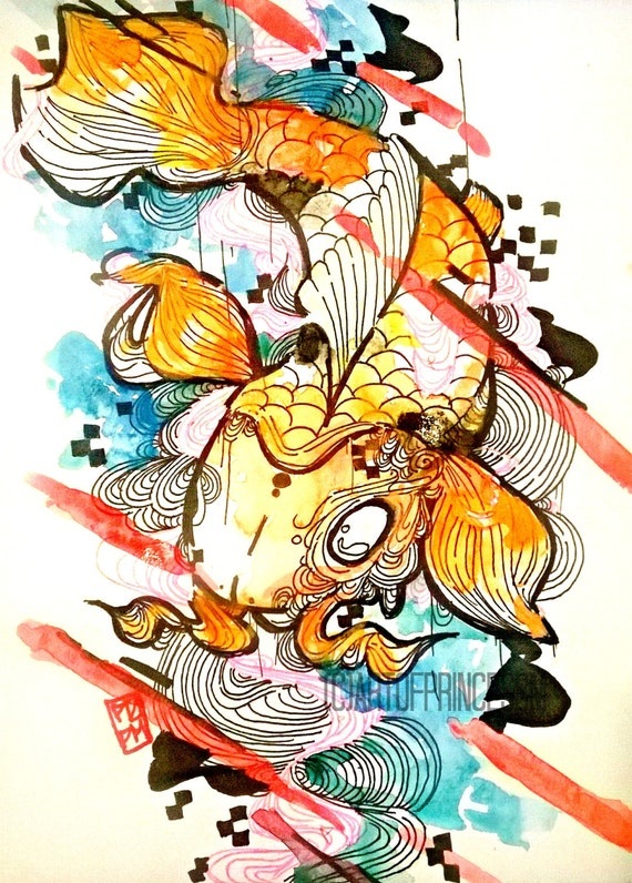 Japanese koi fish giclee art print watercolor by for Koi fish japanese art