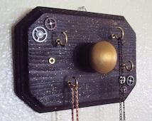 Steampunk Jewelry Display Organizer - Industrial Chic Necklace Holder - Decorative Steampunk Key Holder - Industrial Steampunk Decor