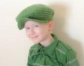 St. Patricks Day Newsboy Cap for Boys Kelly Green Donegal Hat Flat Cap Scally Cap 3-8 years Organic Eco Friendly