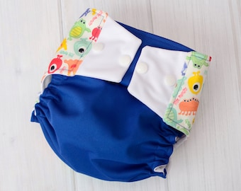 Baby Boy Diaper Covers - Blue Monsters - One Size Cloth Diapers - Best Cloth Diapers - All in Two Cloth Diapers - 945