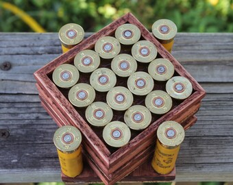 4 Shotgun Shell Coasters and Holder with a Beautiful Satin Stained-Wood Frame
