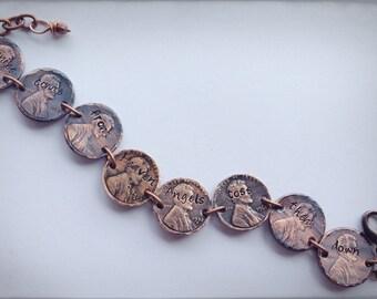 SALE ORIGINAL Hand stamped Pennies from Heaven penny bracelet