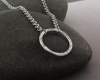 Sterling Silver Textured Circle Necklace NK-127